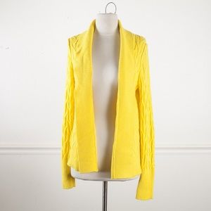 LOFT open front Yellow Cardigan Sweater cable knit